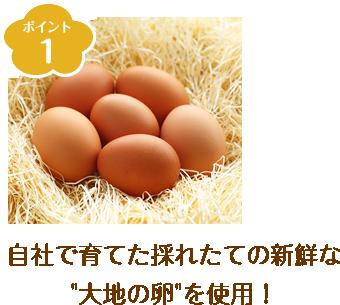 ポイント1 自社で育てた採れたての新鮮な「大地の卵」を使用!